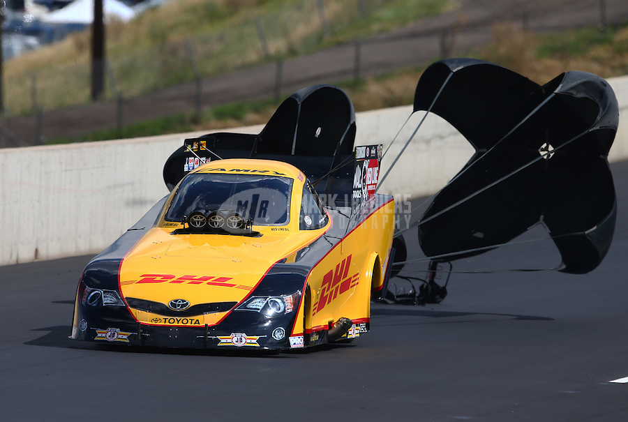 Jul. 20, 2013; Morrison, CO, USA: NHRA funny car driver Del Worsham during qualifying for the Mile High Nationals at Bandimere Speedway. Mandatory Credit: Mark J. Rebilas-