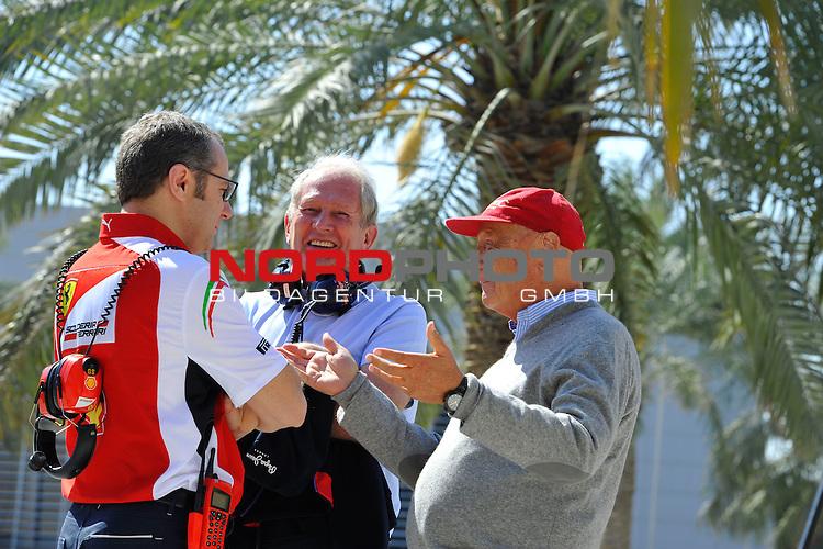 Stefano Domenicali (ITA), Scuderia Ferrari, Sporting Director - Helmut Marko (AUT), Red Bull Racing, Red Bull Advisor - Niki Lauda (AUT) 3x F1 World Champion, Mercedes-Benz non-executive chairman of the board of directors<br />  Foto &copy; nph / Mathis