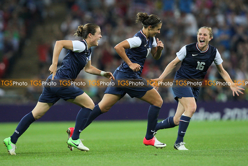 Carli LLOYD of USA celebrates scoring the second and winning goal - USA Women vs Japan Women - Womens Olympic Football Tournament London 2012 Final at Wembley Stadium - 09/08/12 - MANDATORY CREDIT: Gavin Ellis/SHEKICKS/TGSPHOTO - Self billing applies where appropriate - 0845 094 6026 - contact@tgsphoto.co.uk - NO UNPAID USE.