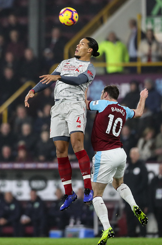 Burnley's Ashley Barnes competing with Liverpool's Virgil van Dijk<br /> <br /> Photographer Andrew Kearns/CameraSport<br /> <br /> The Premier League - Burnley v Liverpool - Wednesday 5th December 2018 - Turf Moor - Burnley<br /> <br /> World Copyright © 2018 CameraSport. All rights reserved. 43 Linden Ave. Countesthorpe. Leicester. England. LE8 5PG - Tel: +44 (0) 116 277 4147 - admin@camerasport.com - www.camerasport.com