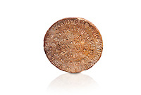 "The Minoan ' Phaistos Disc"" with minoan pictoral sign script, possibly a hymn , Phaistos Palace 17th cent BC; Heraklion Archaeological  Museum, white background.<br /> <br /> The enigmatic Phaistos disc takes pride of place in the history of Minoan script. It bears 45 pictoral signs that can be arranged into 61 groups separated by incised lines. Experts believe that the script may be of a hymn or magical in content."