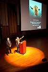 "Bob Donovan, owner of Kenmore Camera, and (at podium) Cal Ellis, Regional Rep of Canon.<br /> Art Wolfe presentation ""Between Heaven and Earth"" at Benaroya Hall, Seattle on May 27, 2010.<br /> Sponsored by Kenmore Camera and Canon USA."