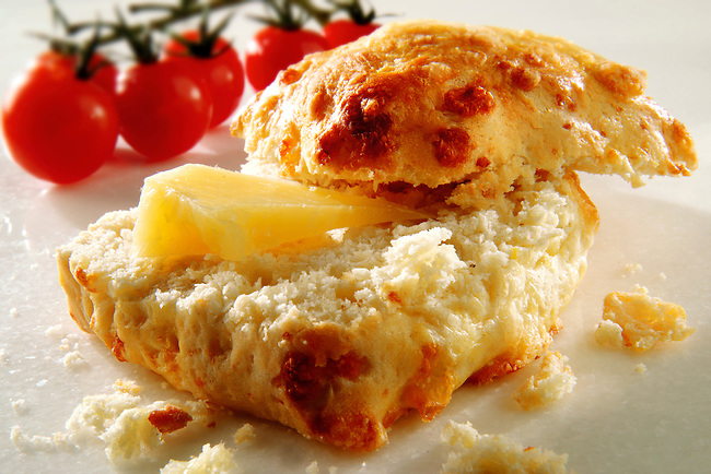 Traditional English cheese scone food photos
