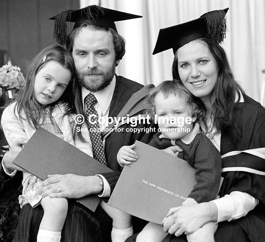 Hugh Logue, SDLP, Londonderry, N Ireland, on the occasion of his graduation from the New University of Ulster, pictured with his wife and two children. 197807000253a.<br /> <br /> Copyright Image from Victor Patterson, 54 Dorchester Park, Belfast, UK, BT9 6RJ<br /> <br /> t1: +44 28 9066 1296 (from Rep of Ireland 048 9066 1296)<br /> t2: +44 28 9002 2446 (from Rep of Ireland 048 9002 2446)<br /> m: +44 7802 353836<br /> <br /> e1: victorpatterson@me.com<br /> e2: victorpatterson@gmail.com<br /> <br /> The use of my copyright images is subject to my Terms &amp; Conditions.<br /> <br /> It is IMPORTANT that you familiarise yourself with them. They are available on my website at www.victorpatterson.com.<br /> <br /> None of my copyright images may be used on a website unless they are visibly watermarked, i.e. &copy; Victor Patterson within the body of the visible image. Metadata denoting my copyright must NOT be deleted. <br /> <br /> Web use (maximum size - 400 kb) is extra at currently recommended NUJ rates.