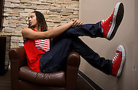 Jun. 10, 2013; Phoenix, AZ, USA: Phoenix Mercury center Brittney Griner during an interview with  at the US Airways Center. Mandatory Credit: Mark J. Rebilas-