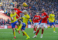 Middlesbrough's Ryan Shotton battles with Leeds United's Jack Harrison and Ezgjan Alioski<br /> <br /> Photographer Alex Dodd/CameraSport<br /> <br /> The EFL Sky Bet Championship - Middlesbrough v Leeds United - Saturday 9th February 2019 - Riverside Stadium - Middlesbrough<br /> <br /> World Copyright © 2019 CameraSport. All rights reserved. 43 Linden Ave. Countesthorpe. Leicester. England. LE8 5PG - Tel: +44 (0) 116 277 4147 - admin@camerasport.com - www.camerasport.com