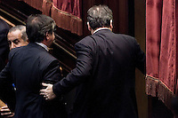 Il deputato Saverio Romano di spalle lascia l aula dopo il risultato del voto..La Camera dei Deputati ha approvato la proposta della Giunta di concedere l autorizzazione all utilizzazione di intercettazioni di conversazioni telefoniche nei confronti del deputato Saverio Romano ..Roma 21 Dicembre  2011..Photo Serena Cremaschi Insidefoto..............................