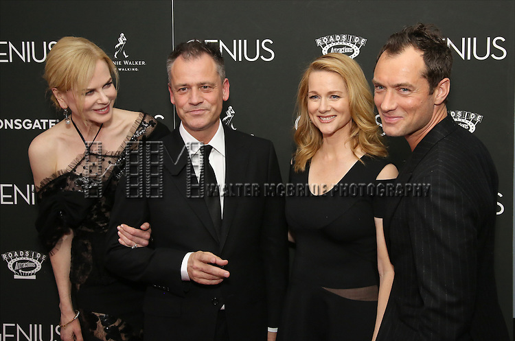 Nicole Kidman, Michael Grandage, Laura Linney and Jude Law attends 'Genius' New York premiere at Museum of Modern Art on June 5, 2016 in New York City.