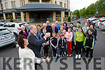 Dick and Eileen Henggeler with their Kerry relatives outside the Fels Point Hotel Tralee on Thursday after the official welcome