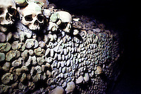 "Skulls line the walls in the Ossuaire Municipal of Paris, France aka the ""Catacombs"", on June 13, 2010."