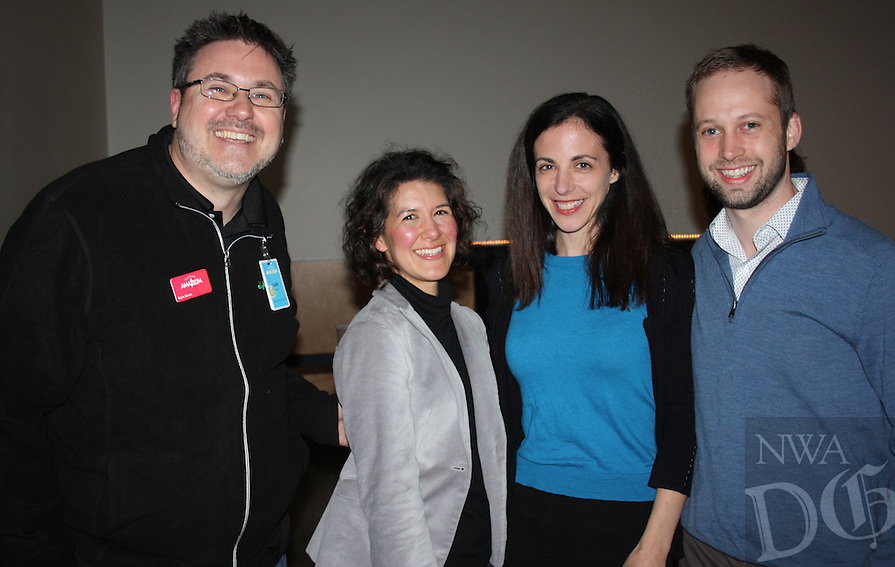 NWA Democrat-Gazette/CARIN SCHOPPMEYER Sam Dean, Amazeum executive director (from left), visits with Karen Minkel and Lisa Margulis and Martin Miller at On the Rocks.