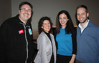 NWA Democrat-Gazette/CARIN SCHOPPMEYER Sam Dean, Amazeum executive director (from left), visits with Karen Minkel and Lisa Margulis and Martin Miller at On the Rocks.