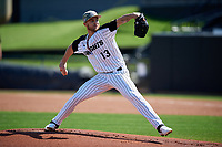 UCF Knights starting pitcher Jordan Spicer (13) delivers a pitch during a game against the Siena Saints on February 17, 2019 at John Euliano Park in Orlando, Florida.  UCF defeated Siena 7-1.  (Mike Janes/Four Seam Images)
