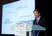 Vice Mayor of Shanghai Tu Guangshao speaks at Shanghai / Paris Europlace Financial Forum, in Shanghai, China, on December 1, 2010. Photo by Lucas Schifres/Pictobank