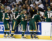 Drew MacKenzie (Vermont - 2), Matt Marshall (Vermont - 17), Jack Downing (Vermont - 21), Josh Burrows (Vermont - 22), Corey Carlson (Vermont - 13), Willie Mitchell (Vermont - Assistant Coach), Kevin Sneddon (Vermont- Head Coach), Patrick Cullity (Vermont - 4), Vermont?, Viktor Stalberg (Vermont - 18) - The University of Vermont Catamounts defeated the Yale University Bulldogs 4-1 in their NCAA East Regional Semi-Final match on Friday, March 27, 2009, at the Bridgeport Arena at Harbor Yard in Bridgeport, Connecticut.