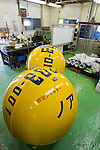 (File Photo) Hiratsuka, Japan - In the file photo released on November 25, 2011 shows two Noah's Ark safety capsules at the Cosmo Power Co., Ltd. company factory in Hiratsuka, Kanagawa Prefecture, October 20, 2011. Shoji came up with the idea to make Noah's Ark after watching the torrential rain that hit Kyushu approximately 4 years ago. His primary vision for the company is to make products that can save as many people in the future from large natural disasters. The construction process to fully complete a single capsule takes one day but the company aims to make 20 per day. There are currently two models of the safety capsules that can fit up to 4 people (1,200mm) (priced at 315,000 Japanese Yen) and 6 people (1,500mm) (priced at 471,450 Japanese Yen). There has been a demand of buyers for Noah's Ark from countries such as the United States, Brazil, China, Thailand, Bangladesh and New Zealand, however, the company is not ready to sell overseas at present. Shoji mentioned that he plans to make a more advanced model of Noah's Ark in the near future. (Photo by: Christopher Jue/AFLO)