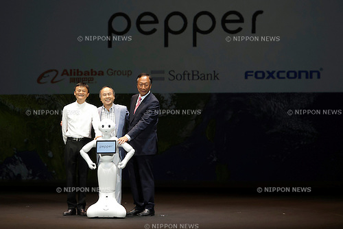 (L to R) Jack Ma executive chairman of Alibaba Group, Masayoshi Son chairman & CEO of SoftBank, robot Pepper and Terry Gou chairman & CEO of FOXCONN pose for the cameras during a press conference to announce that the SoftBank's robot ''Pepper'' can feel like a human on June 18, 2015, Tokyo, Japan. Masayoshi Son chairman & CEO of Japanese internet and telecommunications giant SoftBank Corp., announced that its robot Pepper can feel and understand people's emotions and also express itself. Son also said that the first 1000 robots will be on sale to the public for 198,000 JPY (1,604 USD) from Saturday June 20th, and could be available to companies to replace positions such as reception and convenience store staff from the beginning of July. To develop Pepper's skills SoftBank announced an alliance with foreign technology companies FOXCONN and Alibaba Group. (Photo by Rodrigo Reyes Marin/AFLO)
