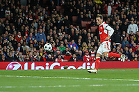 Mesut Ozil of Arsenal scores his 2nd goal of the game to make it 5-0 during the UEFA Champions League match between Arsenal and PFC Ludogorets Razgrad at the Emirates Stadium, London, England on 19 October 2016. Photo by David Horn / PRiME Media Images.