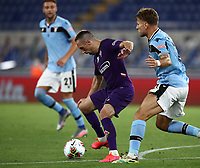 Football, Serie A: S.S. Lazio - Fiorentina, Olympic stadium, Rome, June 27, 2020. <br /> Fiorentina's Frank-Henry Ribéry (l) in action with Lazio's Ciro Immobile (r) during the Italian Serie A football match between S.S. Lazio and Fiorentina at Rome's Olympic stadium, Rome, on June 27, 2020. <br /> UPDATE IMAGES PRESS/Isabella Bonotto
