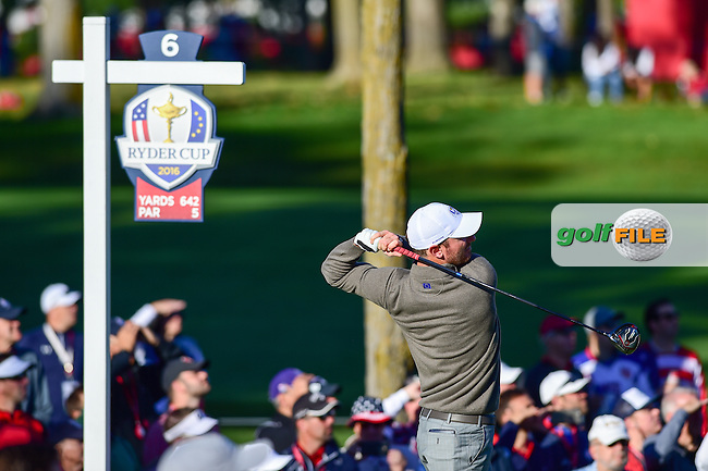 Chris Wood (ENG) watches his tee shot on 6 during the Saturday morning foursomes at the Ryder Cup, Hazeltine National Golf Club, Chaska, Minnesota, USA.  10/1/2016<br /> Picture: Golffile | Ken Murray<br /> <br /> <br /> All photo usage must carry mandatory copyright credit (&copy; Golffile | Ken Murray)