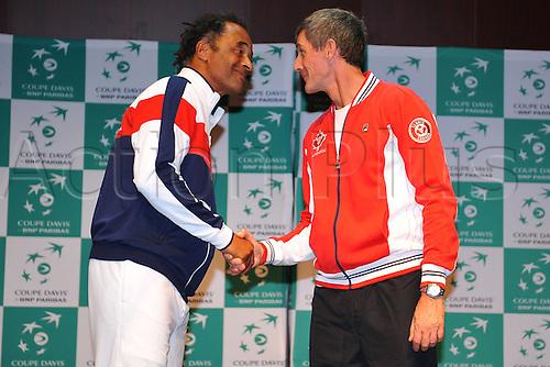 04.03.2016. Vélodrome Amédée Detraux, Guadeloupe, France. Davis Cup 1st round. France versus Canada.  Yannick Noah (Fra) greets Martin Laurendeau (Can)