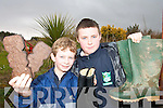 ACTION MEN: Lyreacrompane National School pupils Stephen Nash and Richard O'Regan  enjoying a Bog Day in Lyre on Friday last where they hosted pupils from Derrinagree National School in Dromtarrif.    Copyright Kerry's Eye 2008