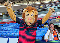 Bolton Wanderers' mascot, Lofty, with young supporter<br /> <br /> Photographer Andrew Kearns/CameraSport<br /> <br /> The EFL Sky Bet Championship - Bolton Wanderers v Blackburn Rovers - Saturday 6th October 2018 - University of Bolton Stadium - Bolton<br /> <br /> World Copyright &copy; 2018 CameraSport. All rights reserved. 43 Linden Ave. Countesthorpe. Leicester. England. LE8 5PG - Tel: +44 (0) 116 277 4147 - admin@camerasport.com - www.camerasport.com