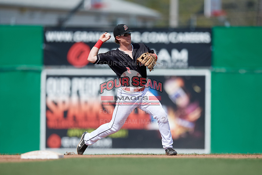 Batavia Muckdogs second baseman Luke Jarvis (8) throws to first base during a game against the Auburn Doubledays on September 3, 2018 at Dwyer Stadium in Batavia, New York.  Auburn defeated Batavia 8-5.  (Mike Janes/Four Seam Images)