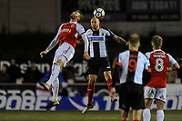 Andy Teague of Chorley goes up for an aerial challenge with Cian Bolger of Fleetwood Town during Chorley vs Fleetwood Town, Emirates FA Cup Football at Victory Park on 6th November 2017