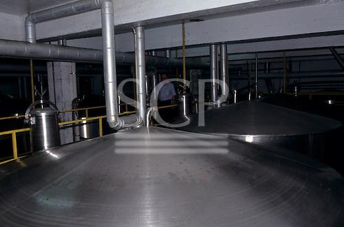 """Rio Grande do Sul, Bento Goncalves, Brazil. """"Aurora"""" wine producer - containers."""