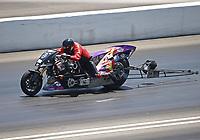 Jun 18, 2017; Bristol, TN, USA; NHRA top fuel nitro Harley Davidson motorcycle rider Tii Tharpe during the Thunder Valley Nationals at Bristol Dragway. Mandatory Credit: Mark J. Rebilas-USA TODAY Sports