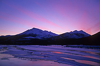 Pink sunset over the Koyukuk River, Brooks Range near Wiseman, Alaska.
