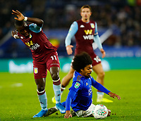 8th January 2020; King Power Stadium, Leicester, Midlands, England; English Football League Cup Football, Carabao Cup, Leicester City versus Aston Villa; Hamza Choudhury of Leicester City is brought down by Marvelous Nakamba of Aston Villa - Strictly Editorial Use Only. No use with unauthorized audio, video, data, fixture lists, club/league logos or 'live' services. Online in-match use limited to 120 images, no video emulation. No use in betting, games or single club/league/player publications