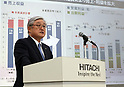 May 12, 2017, Tokyo, Japan - Japan's  electronics giant Hitachi president Toshiaki Higashihara speaks about the company's business strategy in Tokyo on Friday, May 12, 2017. Hitachi announced the group's net profit soared 34 percent to 231 billion yen for the business year ended March 31.   (Photo by Yoshio Tsunoda/AFLO) LwX -ytd-