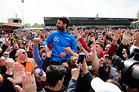 Lincoln City manager Danny Cowley is lifted onto the shoulders of fan at the end of the game<br /> <br /> Photographer Chris Vaughan/CameraSport<br /> <br /> Vanarama National League - Lincoln City v Macclesfield Town - Saturday 22nd April 2017 - Sincil Bank - Lincoln<br /> <br /> World Copyright &copy; 2017 CameraSport. All rights reserved. 43 Linden Ave. Countesthorpe. Leicester. England. LE8 5PG - Tel: +44 (0) 116 277 4147 - admin@camerasport.com - www.camerasport.com