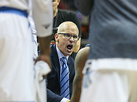 Washington, DC - March 11, 2018: Rhode Island Rams head coach Dan Hurley talking to his team during the Atlantic 10 championship game between Rhode Island and Davidson at  Capital One Arena in Washington, DC.   (Photo by Elliott Brown/Media Images International)