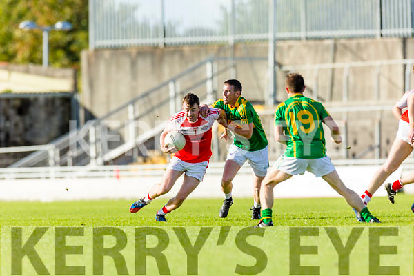 Niall O'Shea South Kerry in action against Tom O'Sullivan Dingle in the Quarter Finals of the Kerry County Football Championship at Austin Stack Park on Saturday.