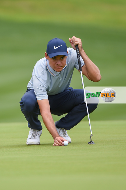 Kristoffer Venturea (USA) looks over his putt on 1 during day 4 of the Valero Texas Open, at the TPC San Antonio Oaks Course, San Antonio, Texas, USA. 4/7/2019.<br /> Picture: Golffile | Ken Murray<br /> <br /> <br /> All photo usage must carry mandatory copyright credit (© Golffile | Ken Murray)