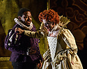 "London, UK. 27.02.2019. English Touring Opera presents Gioachini Rossini's ""Elizabeth I"", directed by James Conway, at the Hackney Empire. Lighting design is by Rory Beaton, with set and costume design by Frankie Bradshaw. The cast is: Mary Plazas (Elizabeth I), Luciano Botelho (Leicester), John-Colyn Gyeantey (Norfolk), Lucy Hall (Matilde), Joseph Doody (Guglielmo) and Emma Stannard (Enrico). Picture shows: John-Colyn Gyeantey (Norfolk), Mary Plazas (Elizabeth I). Photograph © Jane Hobson."