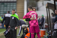 Veteran goalkeeping coach Barry Richardson is hugged by manager Gareth Ainsworth as he prepares to come on during the Sky Bet League 2 match between Plymouth Argyle and Wycombe Wanderers at Home Park, Plymouth, England on 30 January 2016. Photo by Mark  Hawkins / PRiME Media Images.