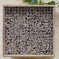 Schilf-Nisthilfe, Nisthilfe aus Schilf, Schilfhalm, Schilfhalmen, Schilfmatte wird mit einer scharfen Gartenschere in Streifen zerschnitten und anschließend werden die Schilfhalm-Rollen in eine Holzkiste, Kiste gefüllt. In einem Abstand von etwa 5 cm wird ein Drahtgitter befestigt. Wildbienen-Nisthilfen, Wildbienen-Nisthilfe selbermachen, selber machen, Wildbienenhotel, Insektenhotel, Wildbienen-Hotel, Insekten-Hotel