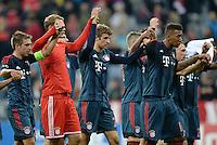FUSSBALL   CHAMPIONS LEAGUE   SAISON 2013/2014   Vorrunde FC Bayern Muenchen - ZSKA Moskau       17.09.2013 SCHLUSSJUBEL Bayern Muenchen; Philipp Lahm, Torwart Manuel Neuer, Thomas Mueller und Jerome Boateng (v.li.)