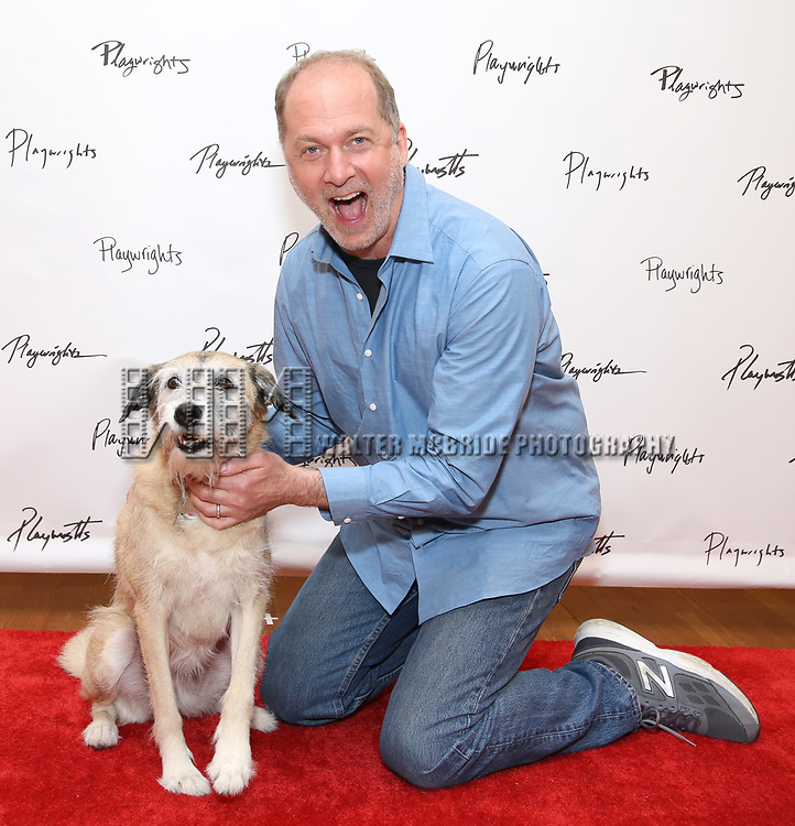 Daniel Jenkins and Macy attend the meet & Greet for Playwrights Horizons New York Premiere pf 'For Peter Pan on her 70th Birthday' on July 25, 2017 at the Playwrights Horizons Studios at  in New York City.