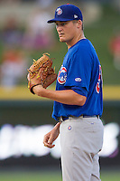 Iowa Cubs pitcher Barret Loux (50) looks to his catcher for the sign against Round Rock Express in the Pacific Coast League baseball game on July 21, 2013 at the Dell Diamond in Round Rock, Texas. Round Rock defeated Iowa 3-0. (Andrew Woolley/Four Seam Images)