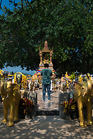 Young man praying in the shrine to elephants on Promthep cape, Phuket, Thailand