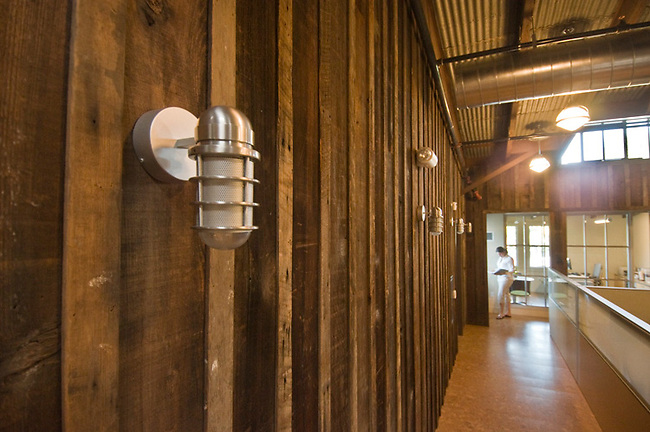 Interior of restored Jackse Winery, Napa Valley, California