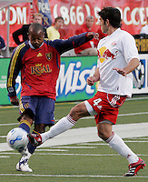 A pass by Andy Williams (7) is blocked by Carlos Mendes (4) in the New York Red Bulls vs. Real Salt Lake 1-1 tie at Rice Eccles Stadium in Salt Lake City, Utah April 15, 2006
