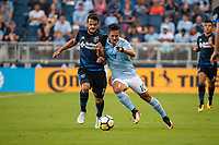 Kansas City, KS - Wednesday August 9, 2017: Valeri Qazaishvili, Benny Feilhaber during a Lamar Hunt U.S. Open Cup Semifinal match between Sporting Kansas City and the San Jose Earthquakes at Children's Mercy Park.