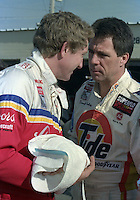 Bill Elliott injured hand Darrell Waltirp Daytona 500 at Daytona International Speedway on February 19, 1989.  (Photo by Brian Cleary/www.bcpix.xom)