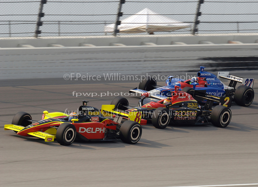 11 September, 2005, Joliet,IL,USA<br /> Scott Sharp (8) leads Tomas Enge (2) and Dario Franchitti (27).<br /> Copyright&copy;F.Peirce Williams 2005